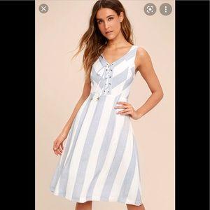 Lulus Martha's Vineyard Striped Midi Dress Size M
